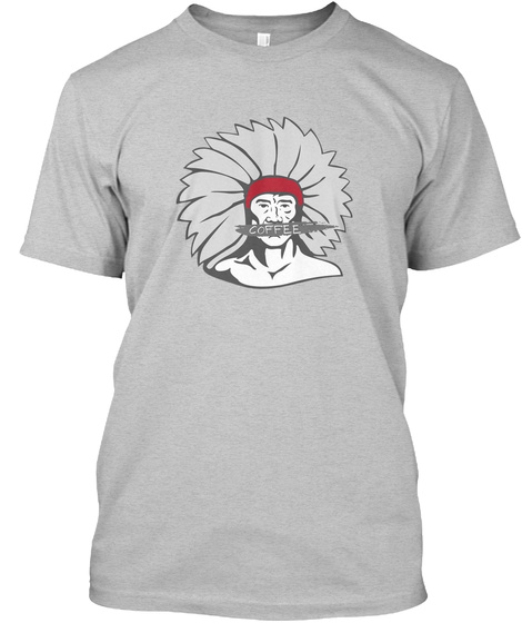Native American Man, Coffee Light Heather Grey  T-Shirt Front