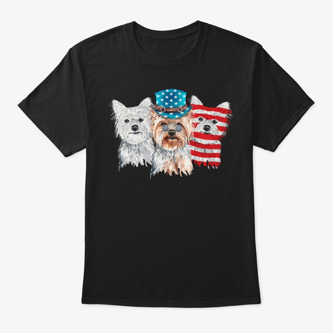 4th Of July Patriotic Yorkie Lover Gift Black T-Shirt Front