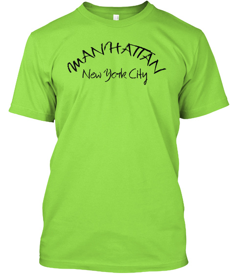 M Anhatan New Yorke City Lime T-Shirt Front