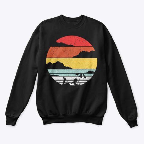 Reading At The Beach Shirt Retro Style Black T-Shirt Front
