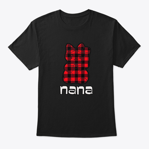 Buffalo Check Big Lucky Cat Nana  Black T-Shirt Front