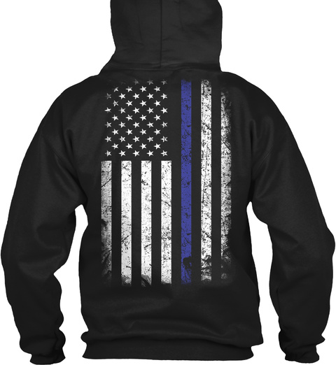 Thin Blue Line  Black T-Shirt Back