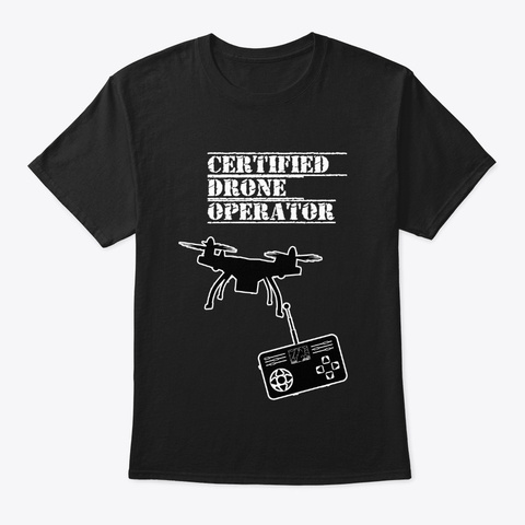 Certified Drone Instructor Black T-Shirt Front