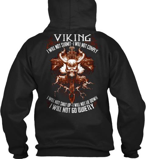 Vikings !!!! Black T-Shirt Back