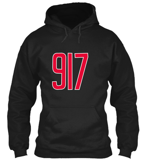 917 Area Code Gift For Queens, Brooklyn, Black T-Shirt Front