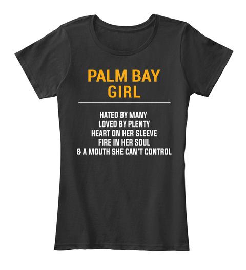 Palm Bay Fl Girl   Heart On Sleeve. Customizable City Black T-Shirt Front