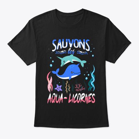 Aqua Licornes Black T-Shirt Front