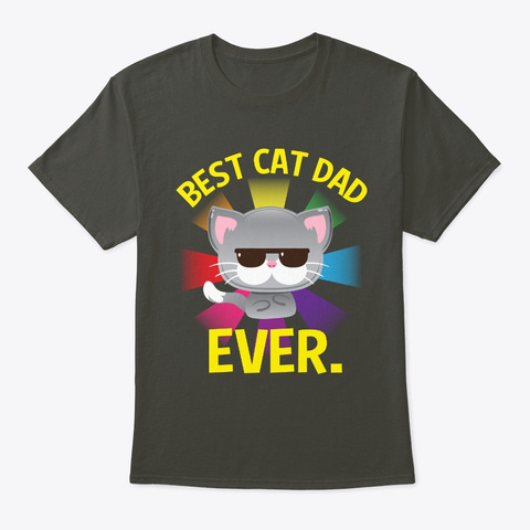 Best Cat Dad Fathers Day Birthday Smoke Gray T-Shirt Front