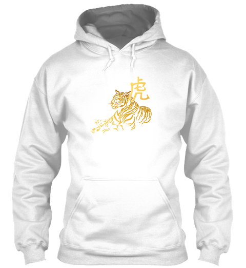 Year Of The Tiger In Gold White T-Shirt Front