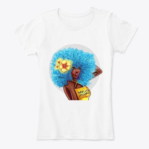 Melanin Popping Blue Fro Apparel White T-Shirt Front