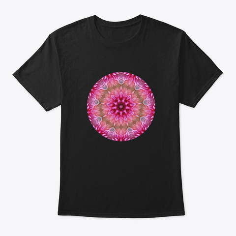 Flower Mandala Sacred Art Yoga Black T-Shirt Front
