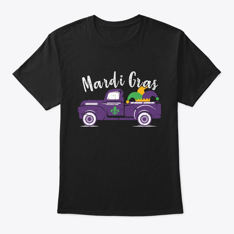 Cool Mardi Gras Truck T Shirt Black T-Shirt Front