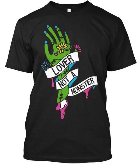 80s Lover Monster Halloween Hand Tee Black T-Shirt Front