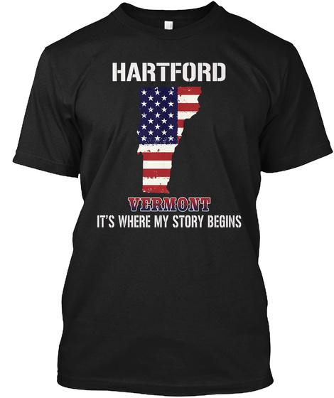 Hartford Vt   Story Begins Black T-Shirt Front