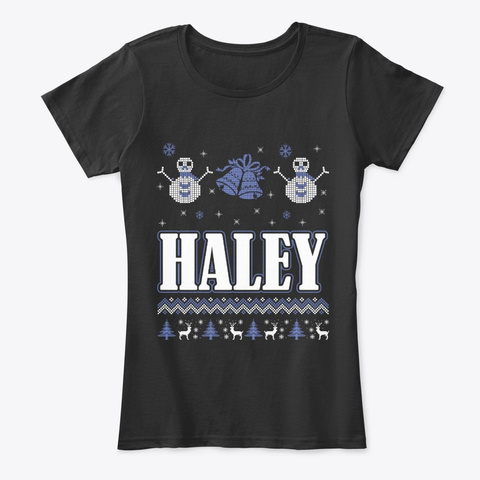 Haley Ugly Christmas Sweater T Shirt Black T-Shirt Front