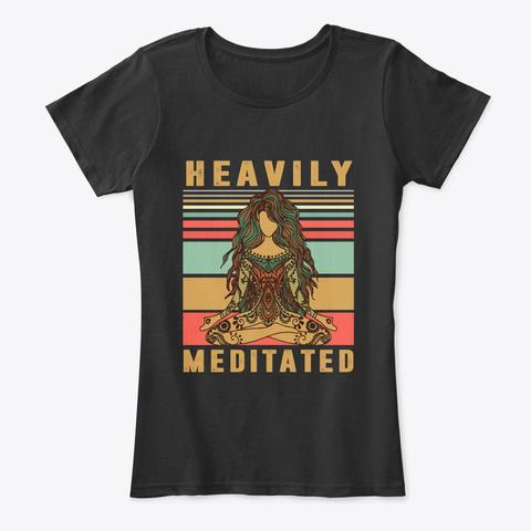 Heavily Meditated   Funny Yoga Shirt Black T-Shirt Front
