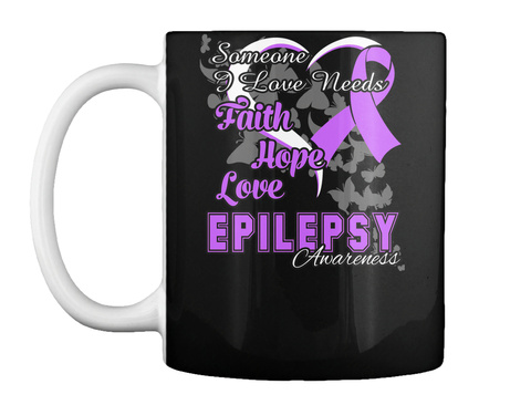 Epilepsy Awareness Ribbon Mug Black T-Shirt Front