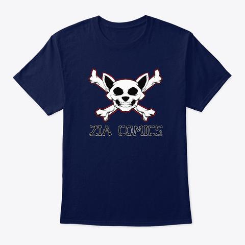 Zia Comics Skull And Crossbones Navy T-Shirt Front