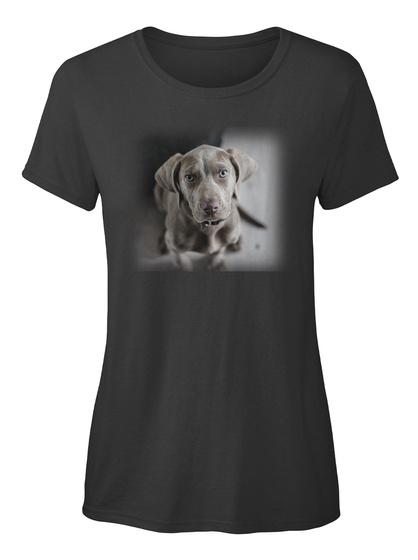 Weimaraner Hund Ellesson Black Damen T-Shirt Front