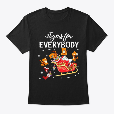 Merry Tiger Christmas T Shirt Black T-Shirt Front
