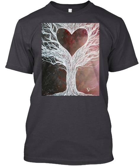 Heart In The Tree Shirt Charcoal Black T-Shirt Front