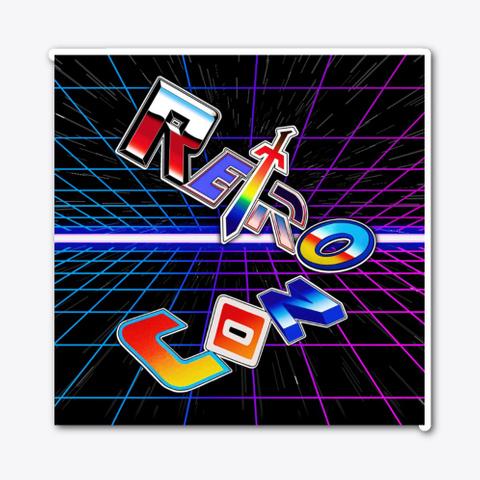 Retro Con Grid Logo Sticker Standard T-Shirt Front
