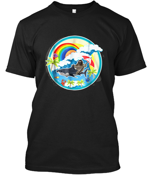 Sloth Riding Shark In Sea Over Rainbow P Black T-Shirt Front