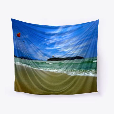 Ocean Beach Sky Wall Art Tapestry White T-Shirt Front