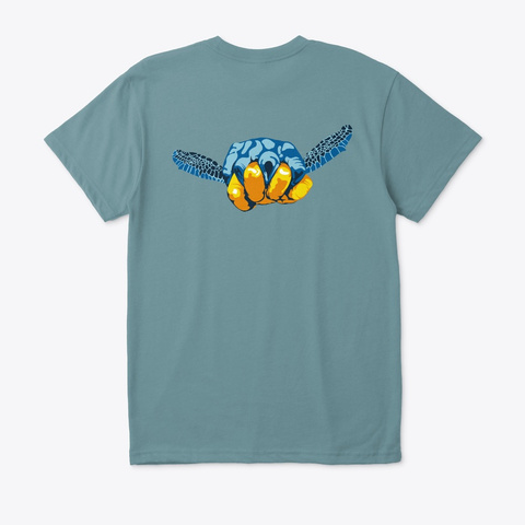 Turtle Hand Signal · Eco T Shirt Heather Pacific T-Shirt Back