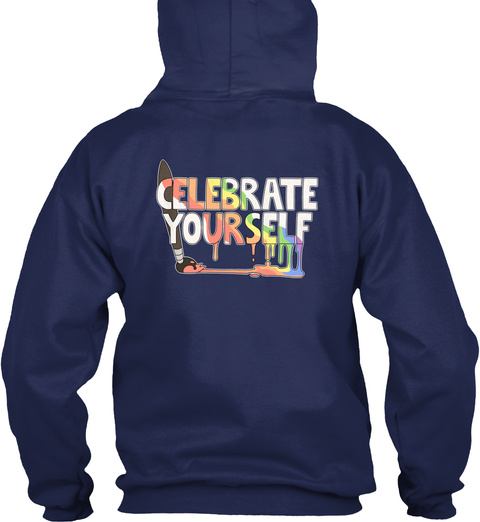 Celebrate Yourself! Lgbt Prom Fundraiser Navy T-Shirt Back