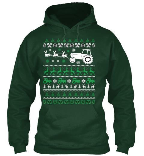 Farmer Ugly Exclusive Christmas Sweaters Forest Green T-Shirt Front
