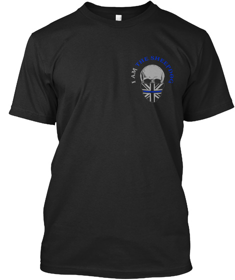 Thin Blue Line   I Hunt The Evil Black T-Shirt Front