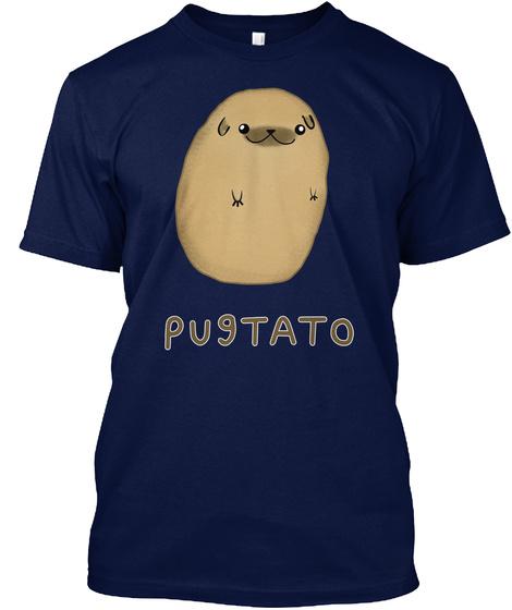 Pugtato Navy T-Shirt Front