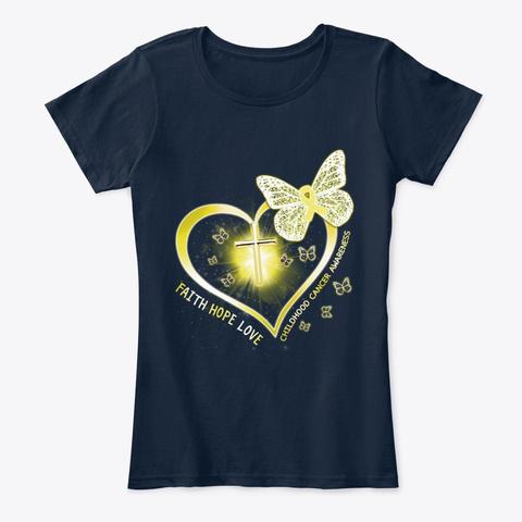 Childhood Cancer Heart Cross Butterfly New Navy T-Shirt Front