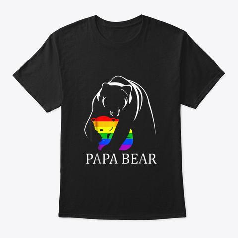 Papa Bear Lgbt Shirt Black T-Shirt Front