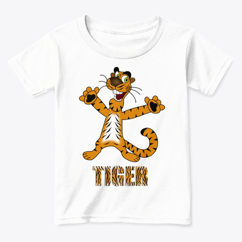 Kids & Babies Tee Tiger White  T-Shirt Front