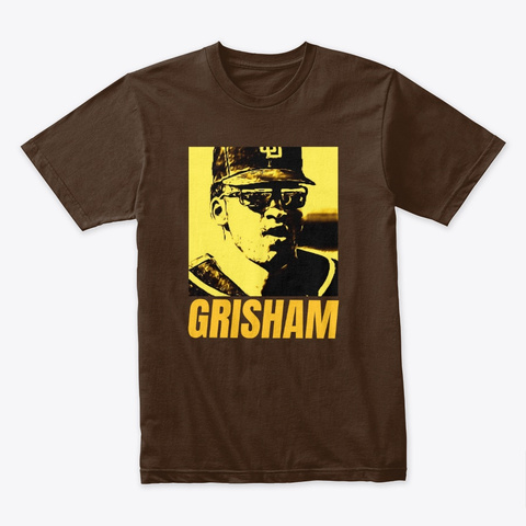 Trent Grisham Friar Lounge Yellow Design Dark Chocolate Kaos Front