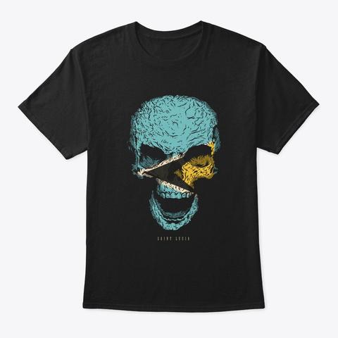 Skull Saint Lucia Flag Skeleton Black T-Shirt Front