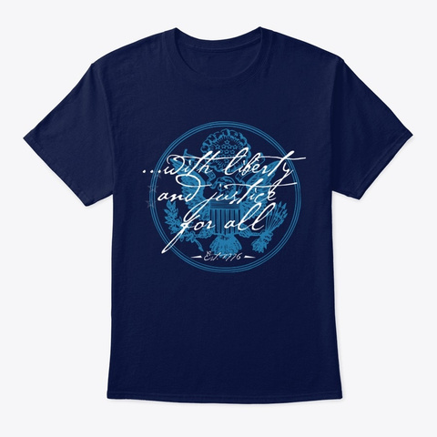 Liberty And Justice For All Navy T-Shirt Front