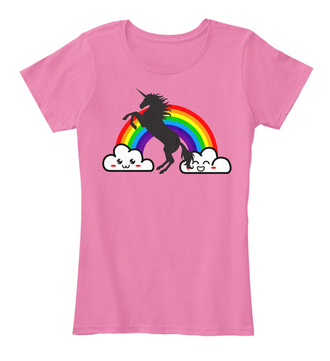 Unicorn Plur Rave Rainbow True Pink Women's T-Shirt Front