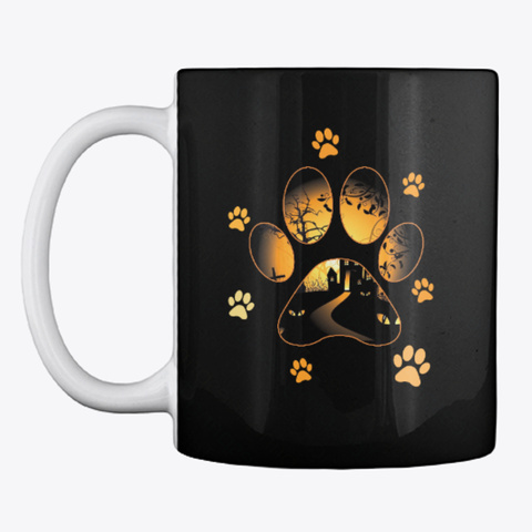 Cat Halloween Mug Black T-Shirt Front