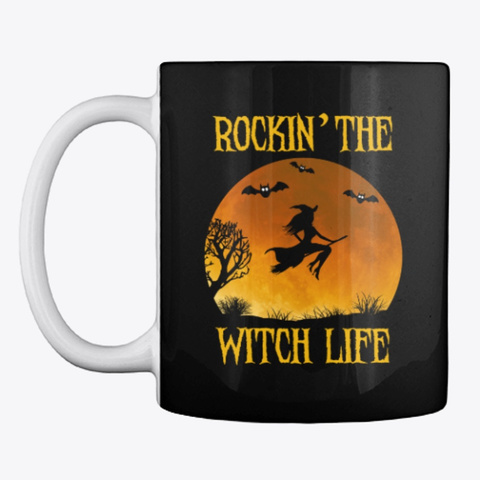 Halloween Witch Life Mug | Stickers Black T-Shirt Front