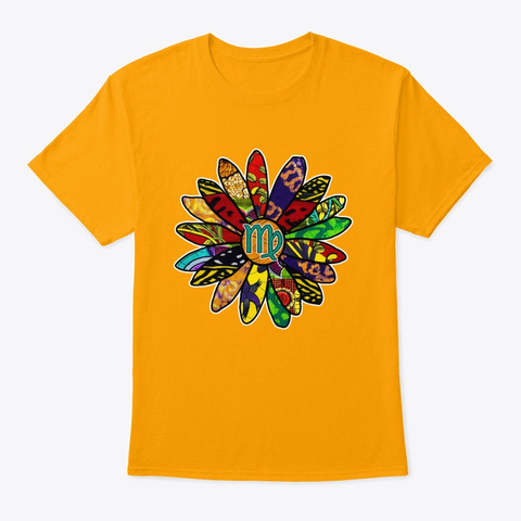 Earthy And Groovy Virgo Flower Gold T-Shirt Front