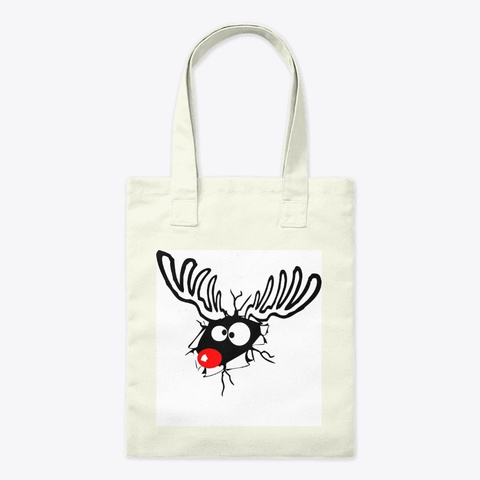 Red Nosed Reindeer Cartoon Natural T-Shirt Front