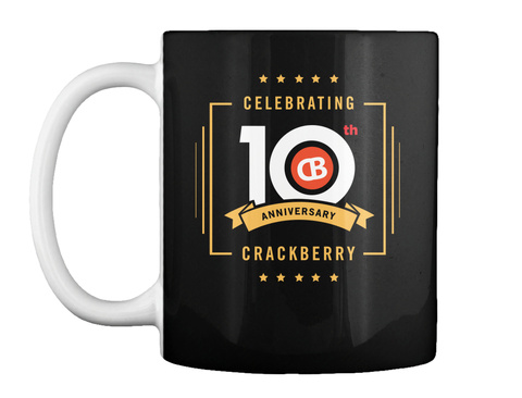 Celebrating 10th Anniversary Crackberry Black Mug Front