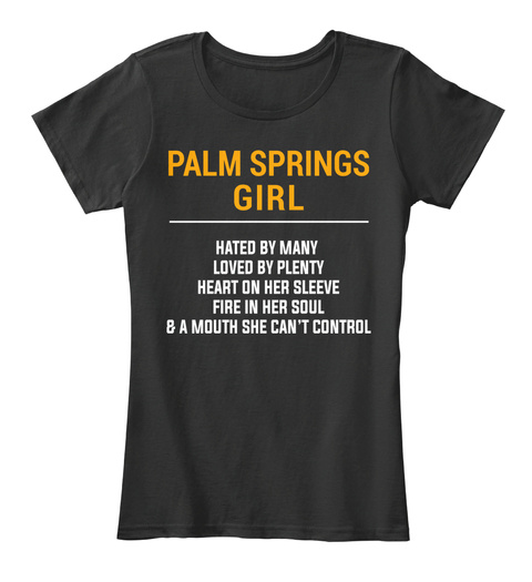Palm Springs Fl Girl   Heart On Sleeve. Customizable City Black T-Shirt Front