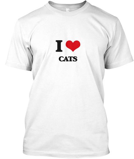 I Love Cats White Maglietta Front