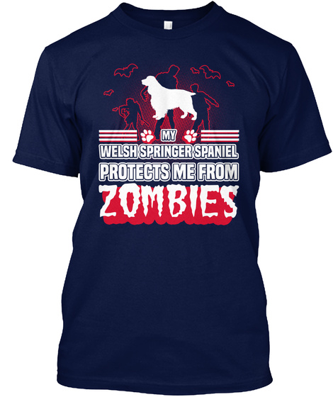 Welsh Springer Spaniel Navy T-Shirt Front