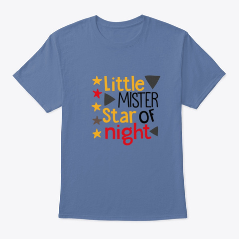 Little Mister Star Of Night Denim Blue T-Shirt Front