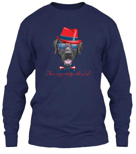 Smiling Black Hipster Dog Breed Labrador Navy T-Shirt Front